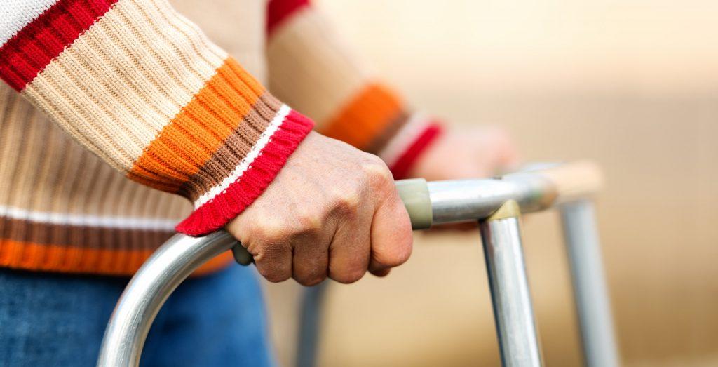 Hands on a walker
